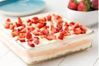 "<p>Dig into three dreamy layers of dessert.</p><p>Get the recipe from <a href=""https://www.delish.com/cooking/recipe-ideas/recipes/a46511/strawberry-cheesecake-lasagna-recipe/"" rel=""nofollow noopener"" target=""_blank"" data-ylk=""slk:Delish"" class=""link rapid-noclick-resp"">Delish</a>.</p>"