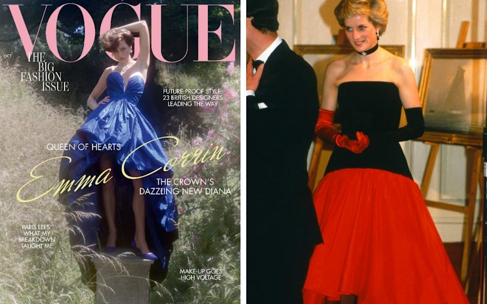 Emma Corrin on the cover of British Vogue's October issue wearing Oscar de la Renta and Princess Diana wearing a similar mullet hem dress in 1986 - Charlotte Wales/ Vogue