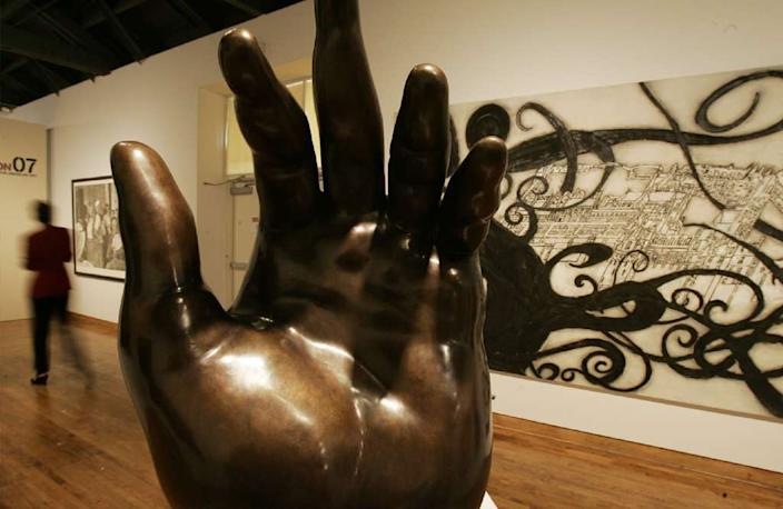 """A view of the galleries at the Museum of Latin American Art in Long Beach. <span class=""""copyright"""">(Luis Sinco / Los Angeles Times)</span>"""