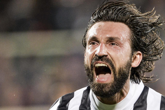 Juventus' Andrea Pirlo celebrates after scoring during an Europa League, round of 16, return-leg soccer match between Fiorentina and Juventus at the Artemio Franchi stadium in Florence, Italy, Thursday, March 20, 2014. (AP Photo/Daniele Badolato, LaPresse)