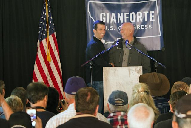 Republican Greg Gianforte, right, welcomes Donald Trump Jr., the president's son, to a rally in East Helena, Mont., May 11, 2017. (Photo: Bobby Caina Calvan/AP)