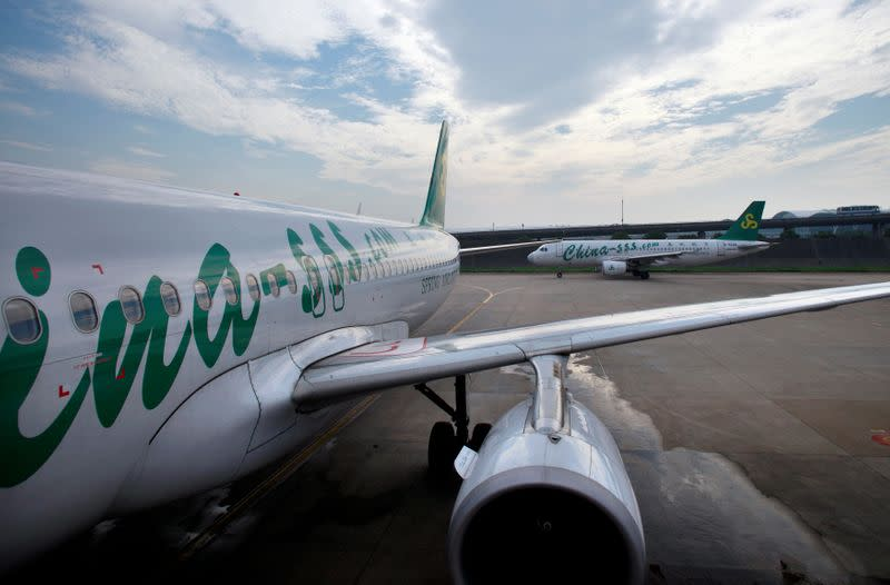FILE PHOTO: Spring Airlines' Airbus A320 aircraft seen at Hongqiao airport in Shanghai