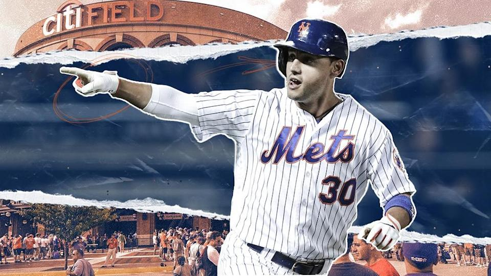 Michael Conforto rounding bases with Citi in background TREATED ART