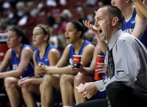 Creighton coach Jim Flanery shouts to his team in the first half of an NCAA tournament first-round women's college basketball game against St. John's in Norman, Okla., Sunday, March 18, 2012. (AP Photo/Sue Ogrocki)