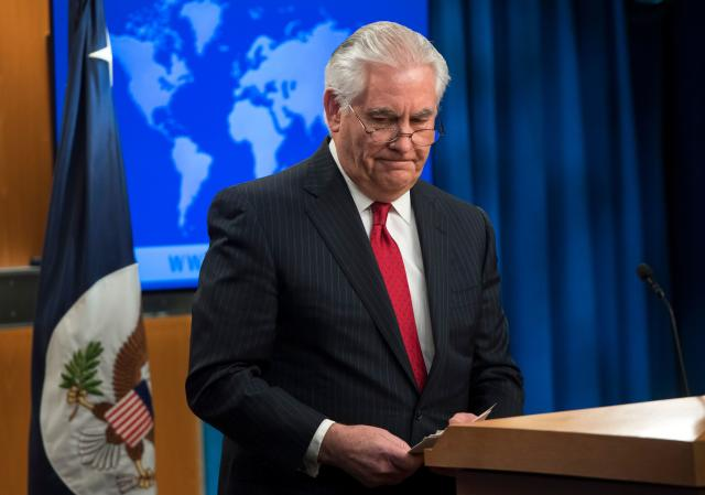 Rex Tillerson at the State Department after his dismissal on Tuesday. (Photo: Saul Loeb/AFP/Getty Images)