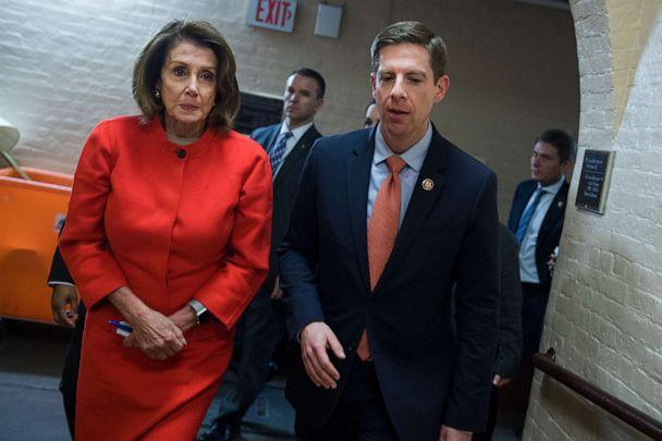 PHOTO: Rep. Mike Levin, right, and Speaker Nancy Pelosi leave a meeting of the House Democratic Caucus in the Capitol on Jan. 30, 2019. (Tom Williams/CQ-Roll Call via Getty Images)