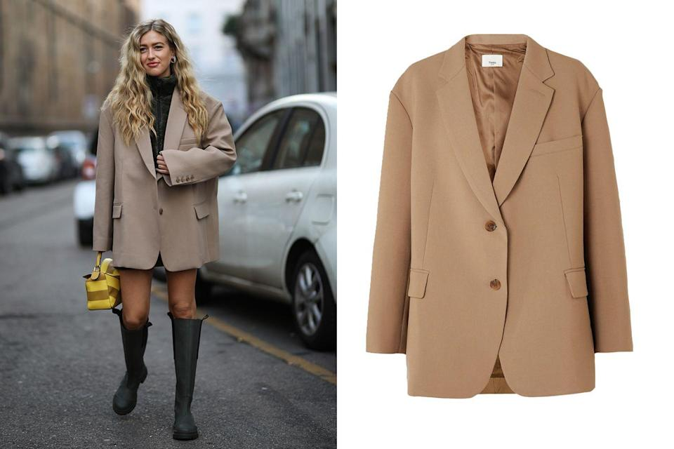 """<p>This oversized boxy blazer is a wardrobe go-to with its easy to wear silhouette and neutral color tone. Throw it on top of everything in your closet, from a sweater and skinny jeans to a mini dress and rain boots, for the perfect springtime coat.</p><p><em><a href=""""https://www.net-a-porter.com/en-us/shop/product/frankie-shop/bea-gabardine-blazer/1241721"""" rel=""""nofollow noopener"""" target=""""_blank"""" data-ylk=""""slk:The Frankie Shop Bea Gabardine Blazer"""" class=""""link rapid-noclick-resp"""">The Frankie Shop Bea Gabardine Blazer</a></em>; $345</p>"""