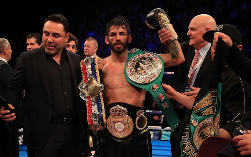 Jorge Linares celebrates victory over Anthony Crolla - PA