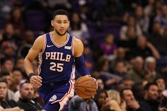Ben Simmons of the Philadelphia 76ers, seen in action during a NBA game at Talking Stick Resort Arena in Phoenix, Arizona, in December 2017 (AFP Photo/Christian Petersen)