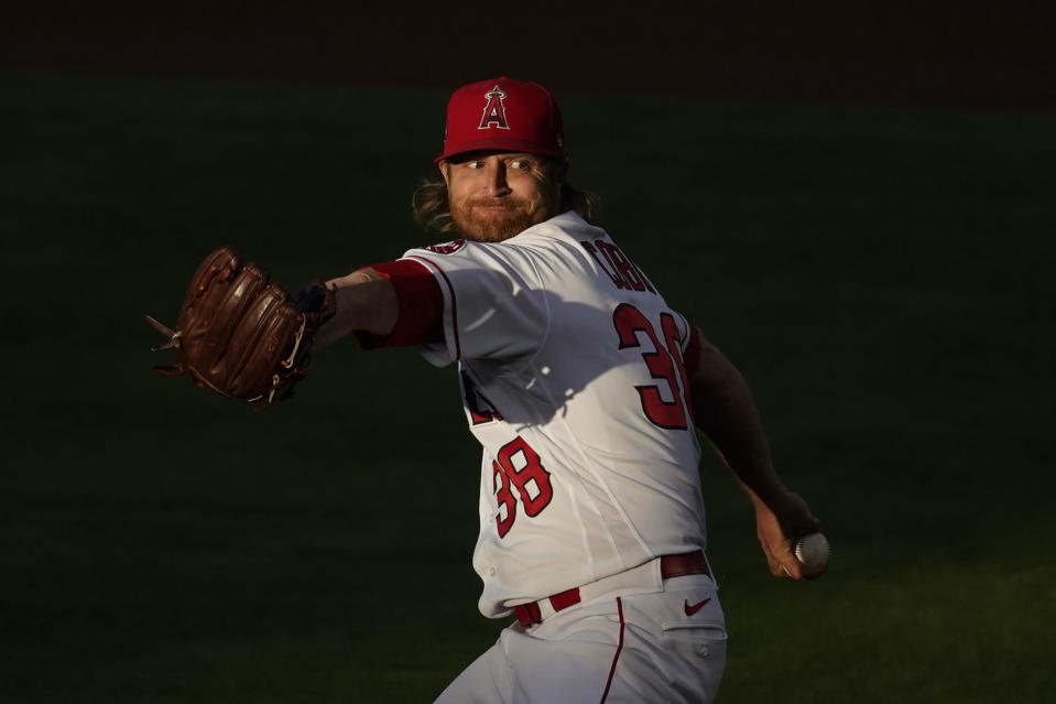 Los Angeles Angels starting pitcher Alex Cobb (38) throws during the first inning of a baseball game against the Seattle Mariners Saturday, June 5, 2021, in Anaheim, Calif. (AP Photo/Ashley Landis)