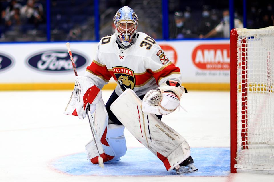 TAMPA, FLORIDA - MAY 26: Spencer Knight #30 of the Florida Panthers looks on during Game Six of the First Round of the 2021 Stanley Cup Playoffs against the Tampa Bay Lightning  at Amalie Arena on May 26, 2021 in Tampa, Florida. (Photo by Mike Ehrmann/Getty Images)