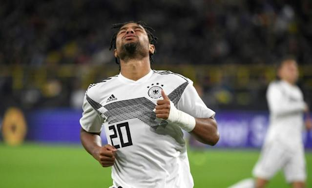 Germany's forward Serge Gnabry shows his frustration as Argentina scored two second-half goals in Wednesday's 2-2 draw in Dortmund. (AFP Photo/Ina FASSBENDER)