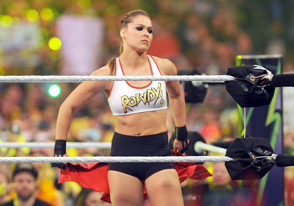 Ronda Rousey in the WWE ring.