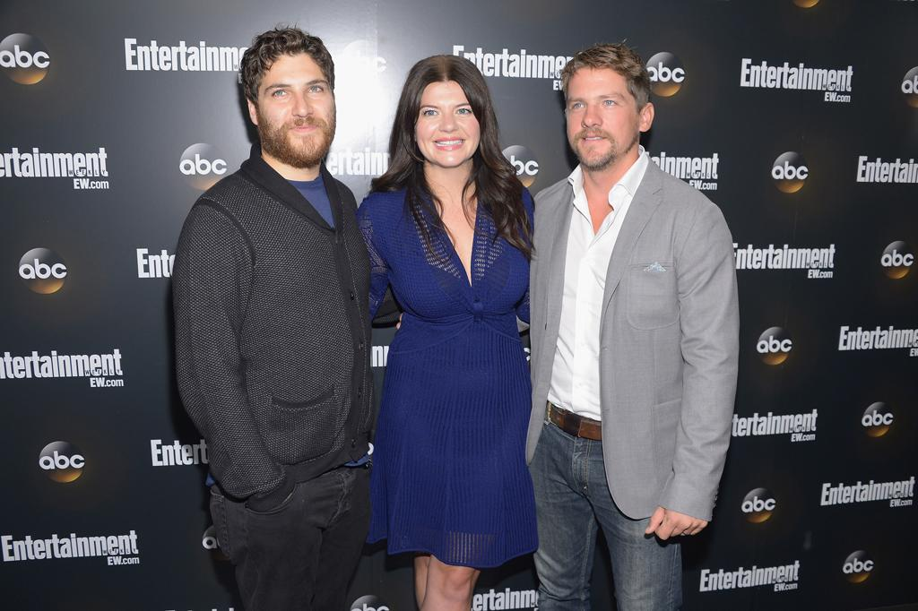 "Adam Pally, Casey Wilson, and Zachary Knighton (""Happy Endings"") attend the Entertainment Weekly and ABC Upfront VIP Party at Dream Downtown on May 15, 2012 in New York City."