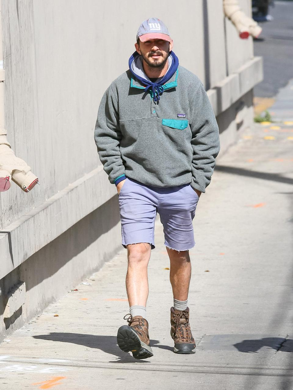 <p>Yes, you can totally get away with wearing lavender shorts when styled with a New York Yankees hat and Patagonia fleece.</p>