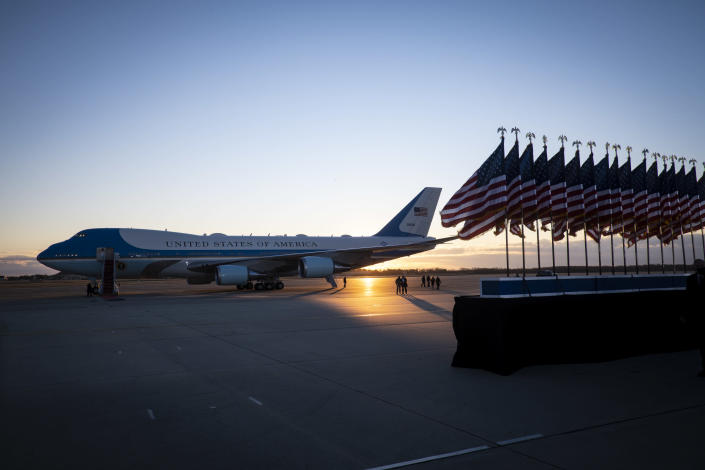 Air Force One at Joint Base Andrews in Maryland, Jan. 20, 2021. (Pete Marovich/The New York Times)