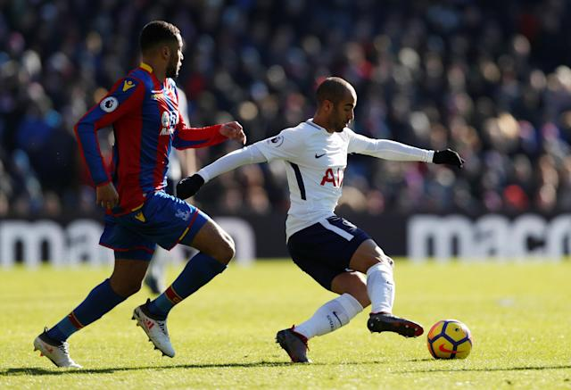 "Soccer Football - Premier League - Crystal Palace vs Tottenham Hotspur - Selhurst Park, London, Britain - February 25, 2018 Tottenham's Lucas Moura in action with Crystal Palace's Jairo Riedewald Action Images via Reuters/Paul Childs EDITORIAL USE ONLY. No use with unauthorized audio, video, data, fixture lists, club/league logos or ""live"" services. Online in-match use limited to 75 images, no video emulation. No use in betting, games or single club/league/player publications. Please contact your account representative for further details."