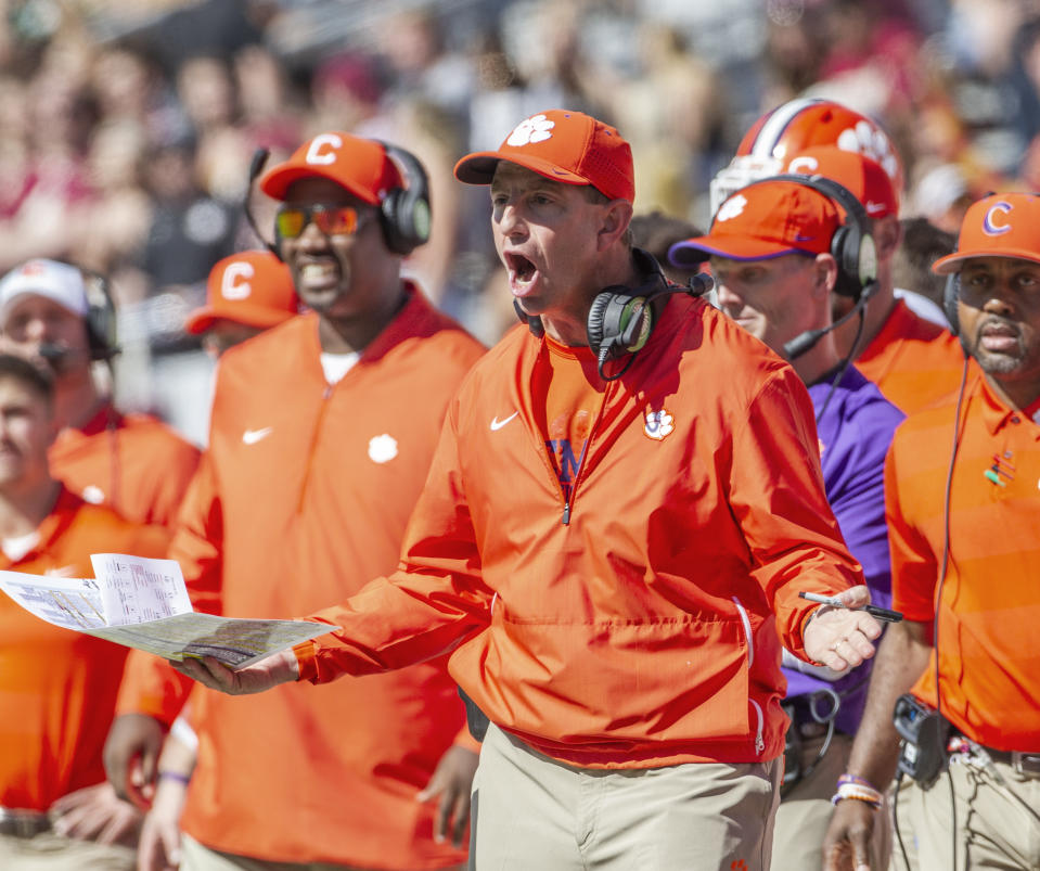 Clemson coach Dabo Swinney yells during the second half of an NCAA college football game against Florida State on Oct. 27, 2018. Clemson defeated Florida State 59-10. (AP)