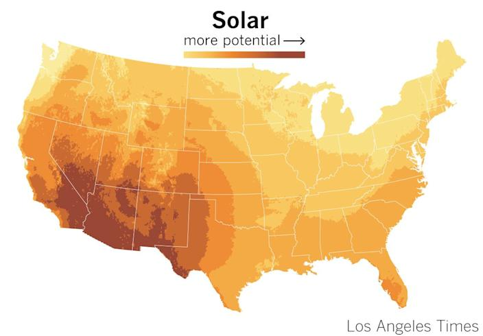 Solar potential in the United States, according to the National Renewable Energy Laboratory.