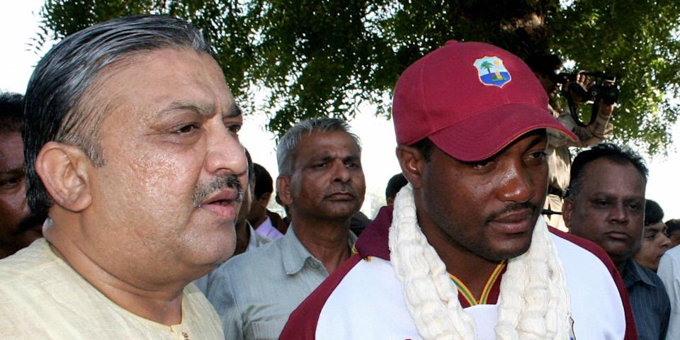 Narhari Amin, with West Indies cricket legend Brian Lara.