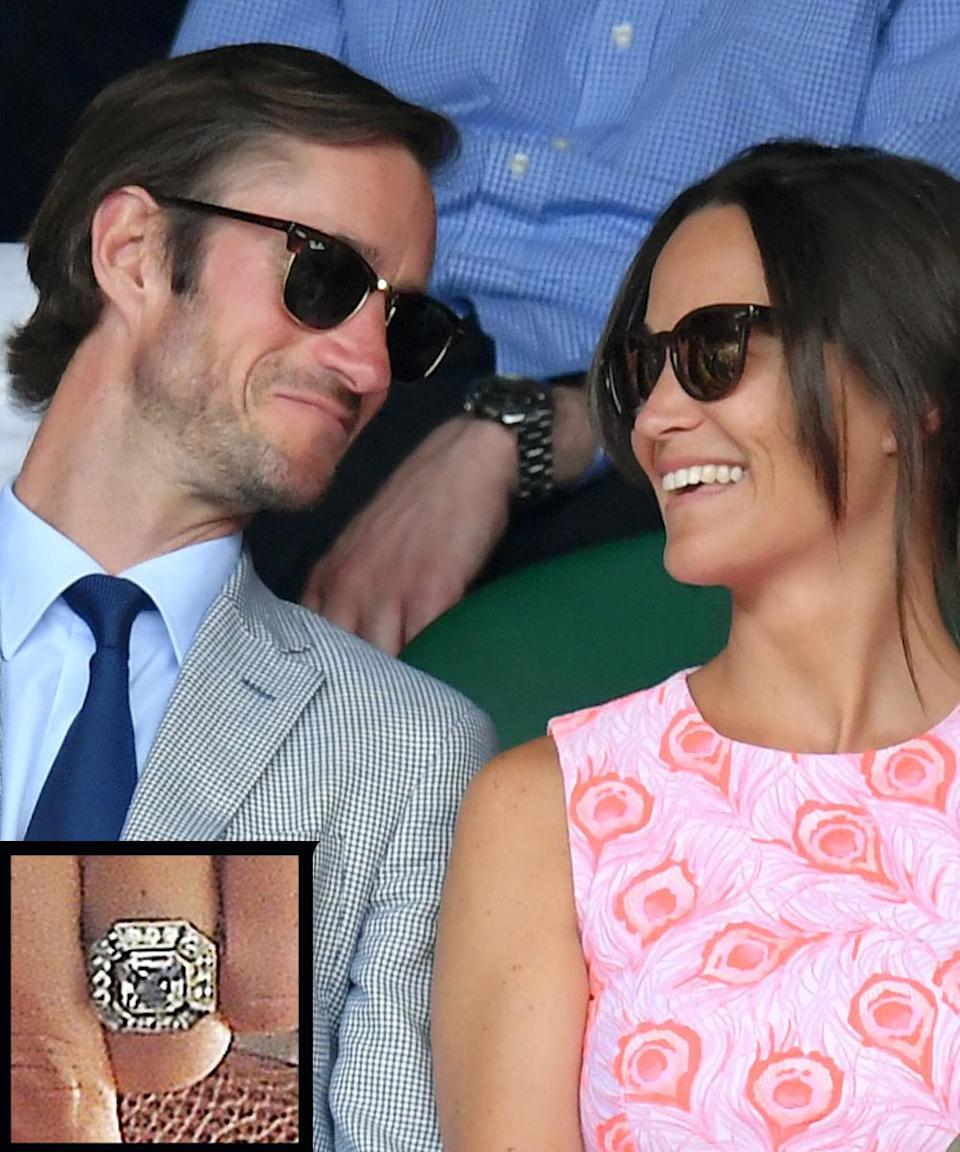 <p>Middleton and her longtime beau, financier James Matthews got engaged on July 17, 2016 while on vacation in the gorgeous Lake District of northwest England. The beautiful Art Deco-inspired Asscher-cut sparkler is estimated to be worth around $263,000.</p>