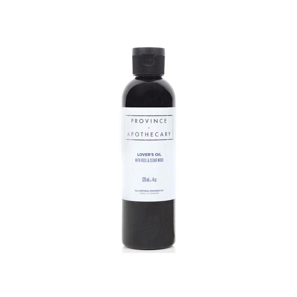 """<p><strong>Province Apothecary</strong></p><p>goop.com</p><p><strong>$32.00</strong></p><p><a href=""""https://shop.goop.com/shop/products/lovers-oil?country=USA"""" rel=""""nofollow noopener"""" target=""""_blank"""" data-ylk=""""slk:Shop Now"""" class=""""link rapid-noclick-resp"""">Shop Now</a></p><p>You'll be tempted to dab on this natural massage oil as perfume—and we won't stop you. It is scented with a classic and sensual mix of bergamot, ylang ylang, and jasmine.</p>"""