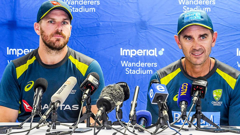 Aaron Finch says it is 'disappointing' that stories about head coach Justin Langer have leaked from the team's camp. (Photo by Sydney Seshibedi/Gallo Images/Getty Images)