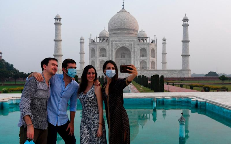 Selfies are back on the agenda at the Taj Mahal - AFP