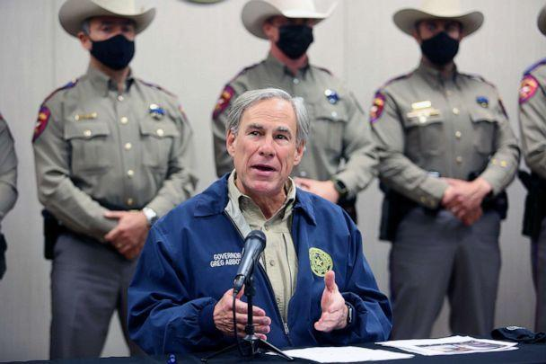 PHOTO: Texas Governor Greg Abbott talks during a press conference in Weslaco, Texas, April 1, 2021. (Joel Martinez/The Monitor via AP, FILE)
