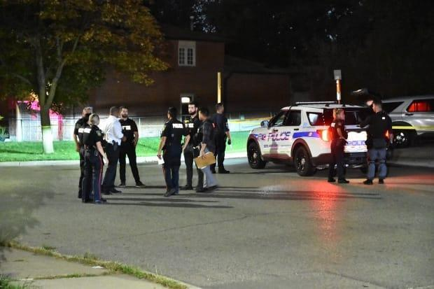 Three people were injured in a shooting at Hull Street and Airport Road Friday evening in Mississauga, according to police and paramedics.  (Jeremy Cohn/CBC - image credit)