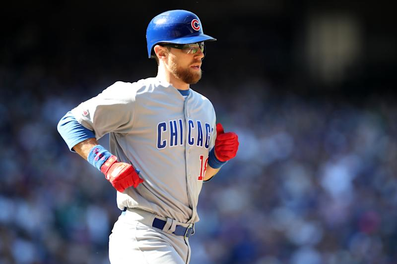 SEATTLE, WA - MAY 01: Ben Zobrist #18 of the Chicago Cubs looks on during the game against the Seattle Mariners at T-Mobile Park on May 1, 2019 in Seattle, Washington. The Cubs defeated the Mariners 11-0. (Photo by Rob Leiter/MLB Photos via Getty Images)