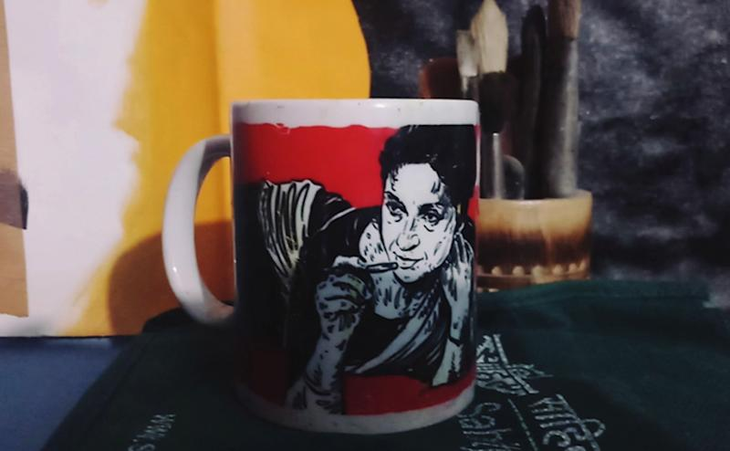 The artist also works on improving the representation of women in previous Urdu poetic and artistic traditions and also popularize female writers in other languages   A mug printed with an illustration of Punjabi poetess Amrita Pritam   (Image: News18/Rakhi Bose)