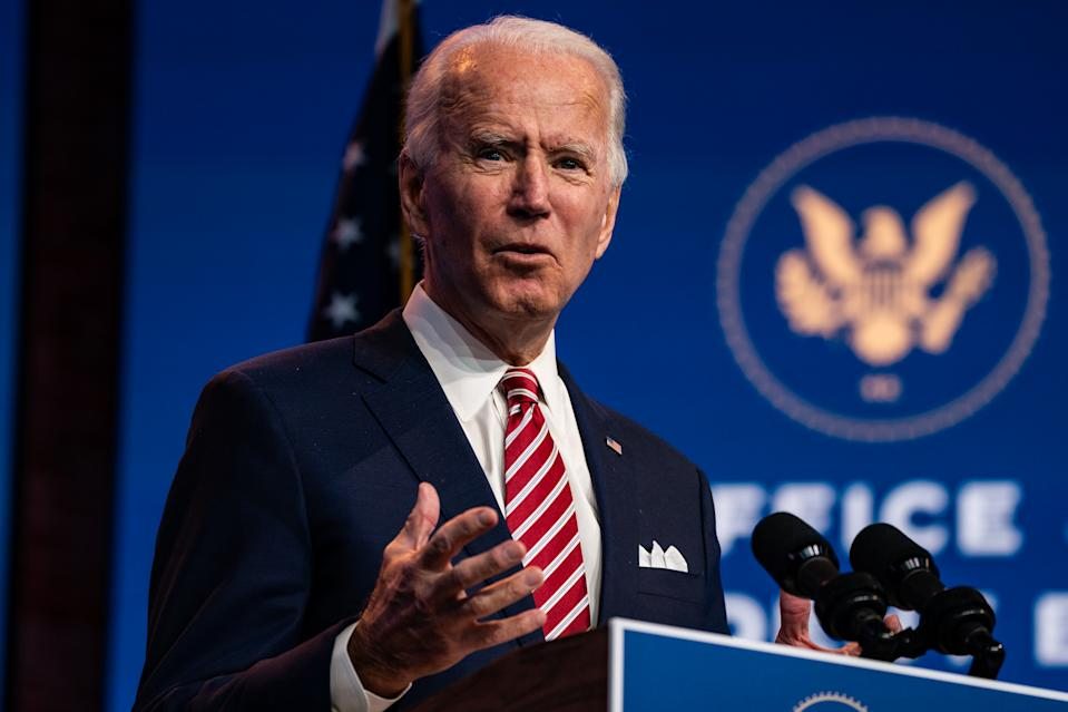 WILMINGTON, DE - NOVEMBER 16: President-elect Joe Biden delivers a remarks on the economic recovery at the Queen in Wilmington, Delaware on Monday, Nov. 16, 2020. (Photo by Salwan Georges/The Washington Post via Getty Images)