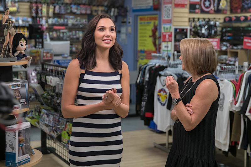 Yahoo Global News Anchor Katie Couric interviews actress Gal Gadot at the Midtown Comics in New York City on May 23, 2017. (Gordon Donovan/Yahoo News)