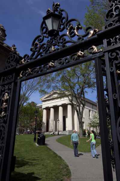 An entrance to the campus of Brown University is seen Monday, May 7, 2012, in Providence, R.I. With a $2.5 billion endowment and property worth an estimated $1 billion, Brown would pay the city of Providence $38 million in property taxes each year if the university were not tax exempt. (AP Photo/Steven Senne)