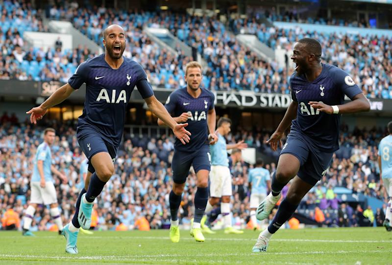 Lucas Moura celebrates scoring the equalizer, just 19 seconds after coming on. (Photo by Richard Sellers/EMPICS/PA Images via Getty Images)