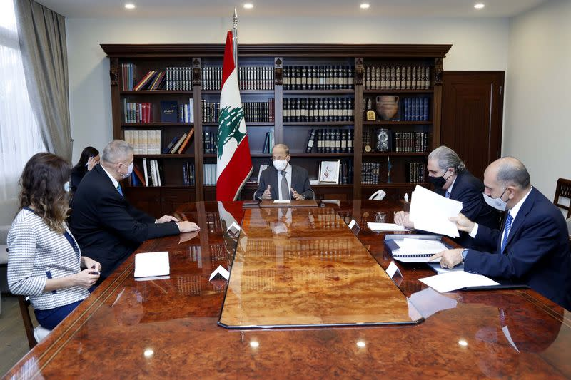 Lebanon's President Michel Aoun meets with United Nations Special Coordinator for Lebanon Jan Kubis at the presidential palace in Baabda