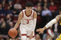 Stanford guard Tyrell Terry (3) dribbles the ball during the first half of the team's NCAA college basketball game against Arizona State in Stanford, Calif., Thursday, Feb. 13, 2020. (AP Photo/Jeff Chiu)