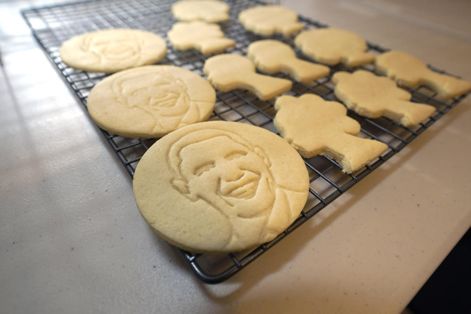 Sugar cookies with the likeness of President Obama are displayed as part of Julie Muller's cookie decorating kits which she sell on Etsy, Tuesday, Sept. 22, 2020, in Houston. One of the cookie-decorating kits she offers has a Black Lives Matter theme. Amid all the Black Lives Matter themed T-shirts, face masks and signs appearing in recent months, some unconventional merchandise has been popping up on online crafts marketplace Etsy. (AP Photo/David J. Phillip)