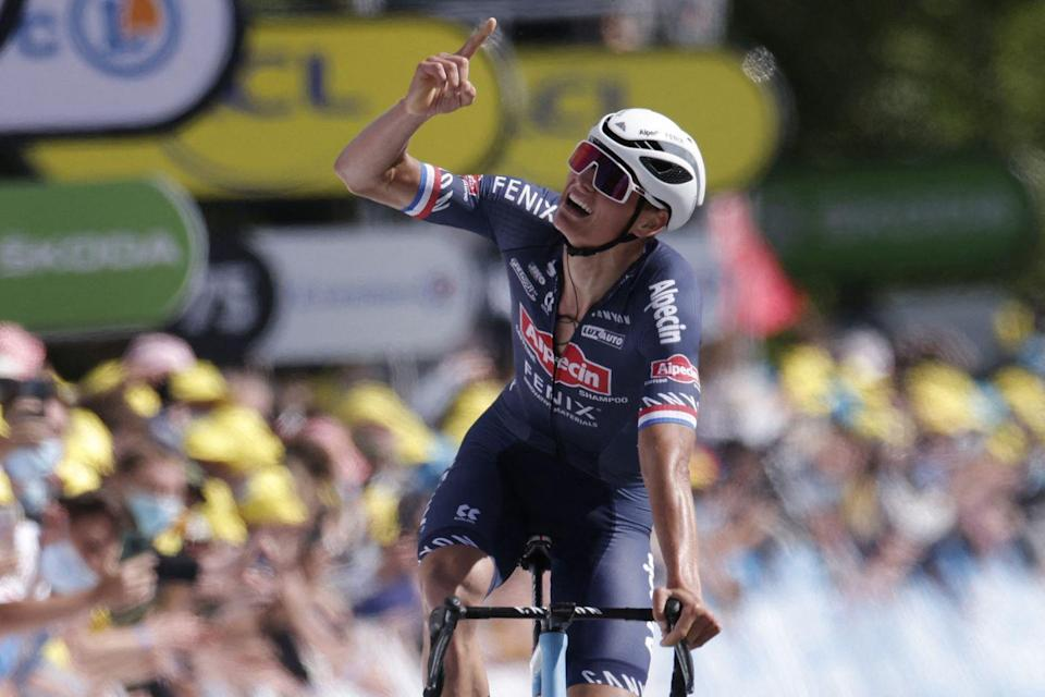 """<p><strong>Who's winning the Tour?</strong> </p><p>It was clear that van der Poel was targeting the stage and the yellow jersey. He launched his first attack on the first of two ascents of the Mûr, taking eight bonus seconds for being the first over the top. Easing back into the bunch, he recovered on the downhill run-in to the final climb to the finish line, then covered attacks by Nairo Quintana (Arkea-Samsic) and Sonny Colbrelli (Bahrain Victorious) before going off on his own with an acceleration no one could follow. </p><p>As he crossed the finish line, he pointed to the sky to honor his deceased grandfather, Raymond Poulidor. One of the Tour's most beloved heroes, """"Pou-Pou,"""" never had the honor of wearing the yellow jersey despite finishing on the Tour's final podium eight times. The 10-second time bonus that van der Poel took for winning the stage was enough to put him in yellow though, as France's Julian Alaphilippe (Deceuninck-Quick Step) finished fourth on the day, eight seconds back. Van der Poel now leads the Tour by eight seconds over the Frenchman; Pogačar sits third, 13 seconds down. </p><p><strong>Who's <em>really</em> winning the Tour?</strong></p><p>We're only two days into the race, but it's clear that last year's top two finishers, Slovenians Tadej Pogačar (UAE Team Emirates) and Primož Roglič (Jumbo-Visma), aren't wasting any time. Both riders scored bonus seconds behind van der Poel on the day's first climb of the Mûr de Bretagne, and the duo pulled away from the rest of the leading group to score more bonus seconds at the finish. If this keeps up, we could be headed for a Tour even closer than last year's, when Pogačar overtook Roglič in the final time trial to win the Tour.</p><p>The Tour's other top GC contenders are expected to come from INEOS Grenadiers, whose four-headed GC-monster became a 2-headed GC-monster in yesterday's crashes. Both Richie Porte and Tao Geoghegan Hart lost lots of time, leaving the team to ride for Geraint Thomas an"""