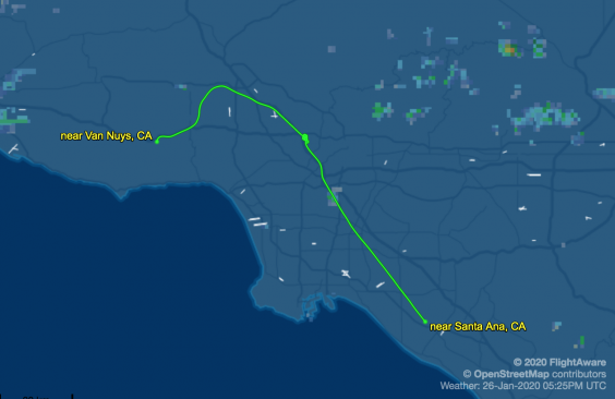 Flight data shows Bryant's fated flight circled for over 10 minutes over the city of Glendale before crash near Calabasas (Flightaware Screen Shot)
