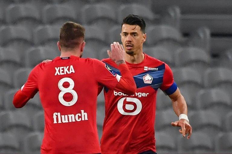 Fonte (R) grabbed Lille a vital point in the 86th minute