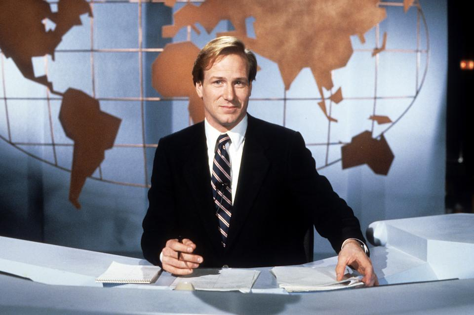 William Hurt as a newscaster in a scene from the film 'Broadcast News', 1987. (Photo by Amercent Films/Getty Images)
