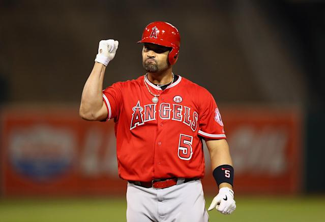 "<a class=""link rapid-noclick-resp"" href=""/mlb/players/6619/"" data-ylk=""slk:Albert Pujols"">Albert Pujols</a> is now seventh on the all-time home run list after hitting No. 613 on Thursday night. (Getty Images)"