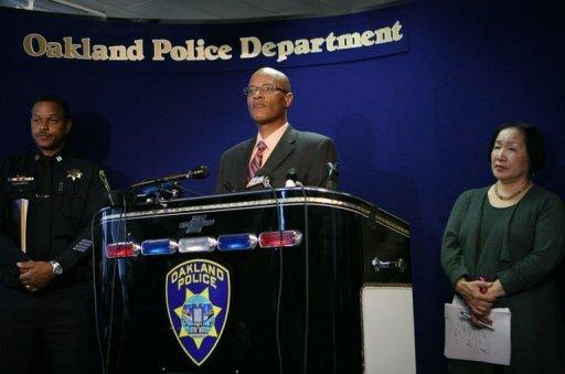 Oakland Police Chief Howard Jordan addresses reporters on April 2. A Korean-American former student at a California religious college lined up his victims and shot them them execution-style, police said Tuesday