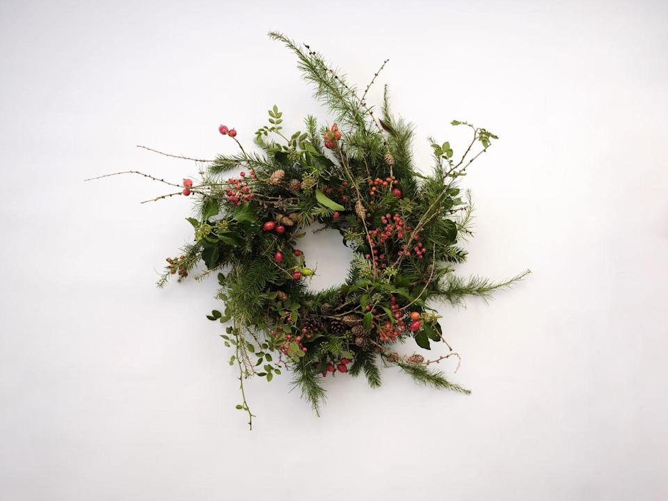 "<p>This florists is also a social enterprise, offering floristry training to refugee women in the UK looking to start a new life. Funds from this wreath, handmade by co-founder Liv Wilson and her team of past students, not only looks good, but does good too. From £40, <a href=""https://www.wearebreadandroses.com/shop/p/bread-amp-roses-evergreen-festive-wreath"" rel=""nofollow noopener"" target=""_blank"" data-ylk=""slk:wearebreadandroses.com"" class=""link rapid-noclick-resp"">wearebreadandroses.com</a></p>"