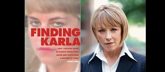 Left: Cover of the ebook: 'Finding Karla: How I tracked down an Elusive Serial Killer and Discovered a Mother of Three' by Paula Todd. Right: author Paula Todd photographed by Andrew Tolson/Maclean's