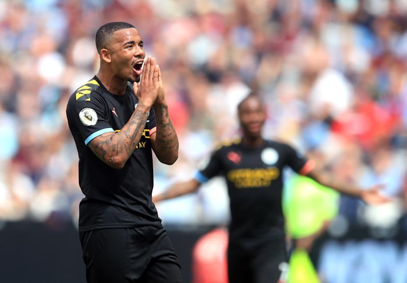 Manchester City's Fernando Gabriel Jesus reacts as VAR check disallows his third sides goal of the match during the Premier League match at London Stadium. (Photo by Adam Davy/PA Images via Getty Images)