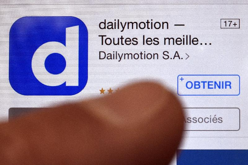 Dailymotion displayed on a smartphone screen on April 7, 2015 in Rennes, western France (AFP Photo/Damien Meyer)