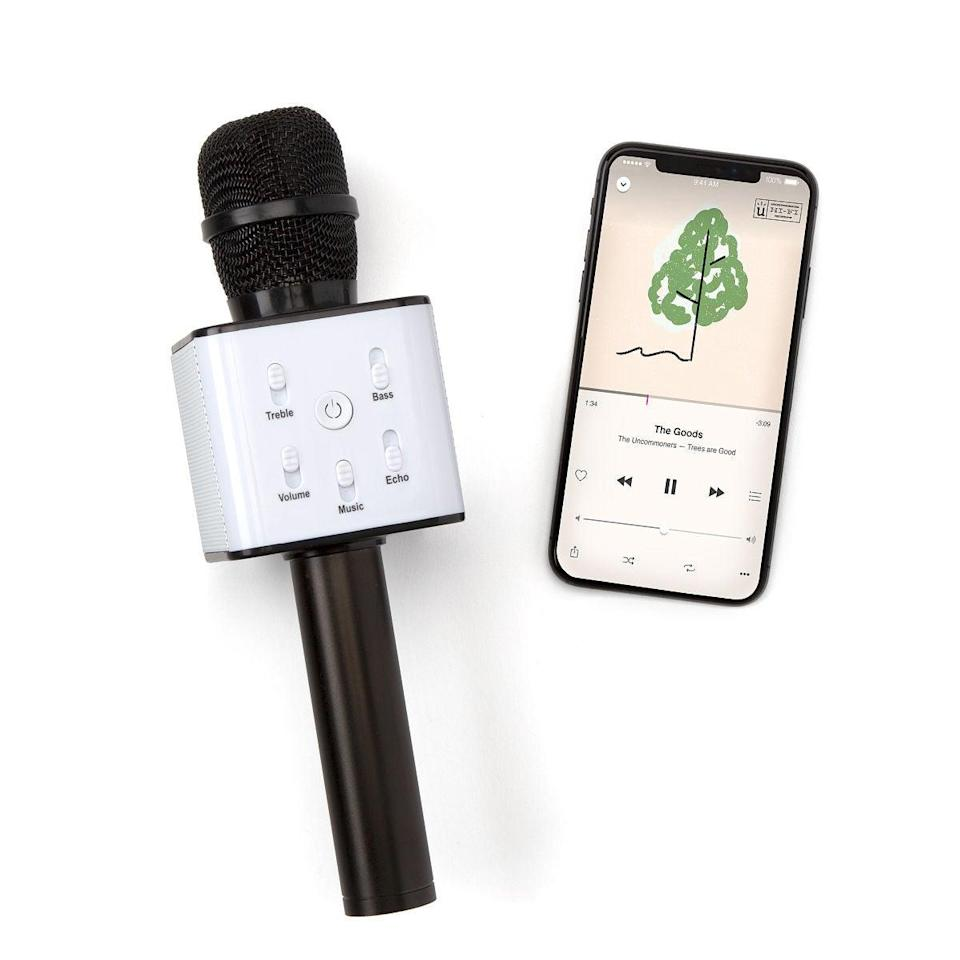 "<br><br><strong>Uncommon Goods</strong> Karaoke Microphone Speaker, $, available at <a href=""https://go.skimresources.com/?id=30283X879131&url=https%3A%2F%2Fwww.uncommongoods.com%2Fproduct%2Fkaraoke-microphone-speaker"" rel=""nofollow noopener"" target=""_blank"" data-ylk=""slk:Uncommon Goods"" class=""link rapid-noclick-resp"">Uncommon Goods</a>"